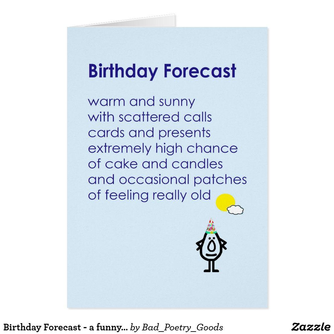 Birthday Forecast - A Funny Birthday Poem Card