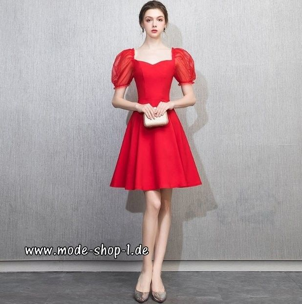 Kurzes Prom Kleid Abendkleid 2019 in Rot Knielang mit Puff ...