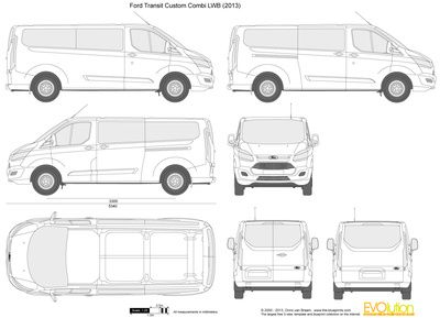 Vector Drawing Ford Transit Custom Combi Lwb Ford Tourneo Custom Ford Wohnmobil