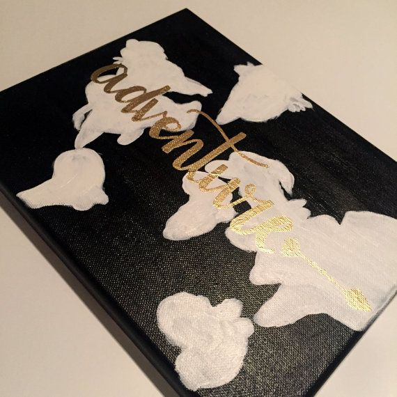 Small 8x6 black canvas with somewhat accurate or somewhat inaccurate small black canvas with somewhat accurate or somewhat inaccurate however you want to look at it world map painted in white with visible brush stroking gumiabroncs Gallery