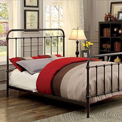 Iria Contemporary Vintage Style Dark Bronze Finish Cal King Size Bed ...