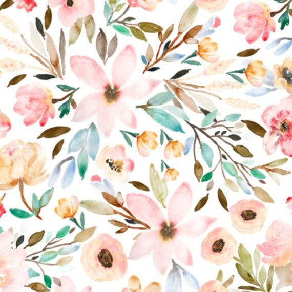 d997ce245 Floral Crib Sheet - Floral Bedding   Watercolor Florals in Spring   Fitted  Crib Sheet / Changing Pad