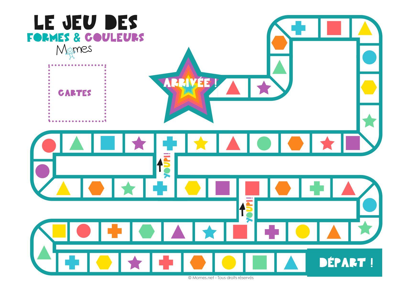 Le jeu des formes et des couleurs | Jeux a imprimer, Jeu de l'oie et Jeux éducatifs maternelle