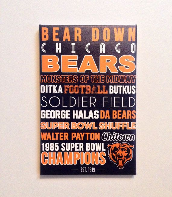 Chicago+Bears+Typography+Canvas+by+SarasPrints+on+Etsy,+$49.95