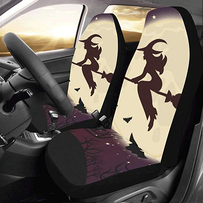 Amazon Com Interestprint Front Car Seat Covers 2 Pcs Halloween Witch Bats Vehicle Seat Protector Polyester Cloth Fa Carseat Cover Car Seat Cushion Seat Covers