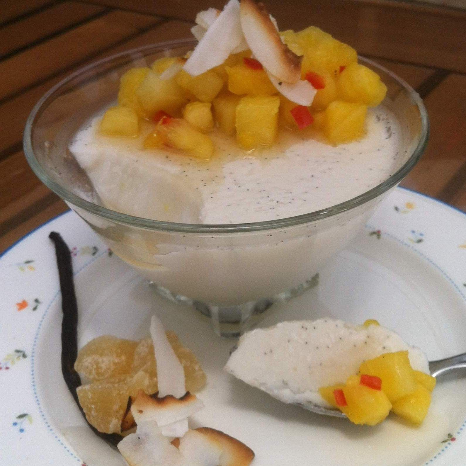 Recipe coconut pana cotta with pineapple salsa from the bbc good recipe coconut pana cotta with pineapple salsa from the bbc good food magazine by forumfinder Images