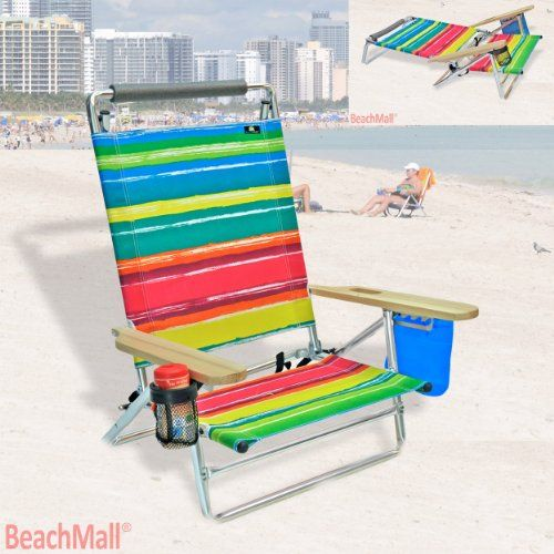 Deluxe 5 pos Lay Flat Aluminum Beach Chair w/ Cup Holder & Storage Pouch BeachMall