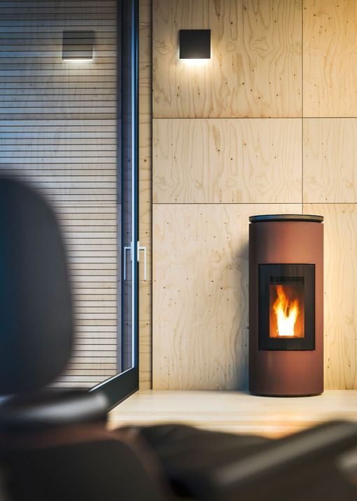 Ductable Pellet Stove With Top In Black Coated Aluminium And Steel Sides In The Colours Bronze Silver And Black Pellet Stove Fireplace Contemporary House