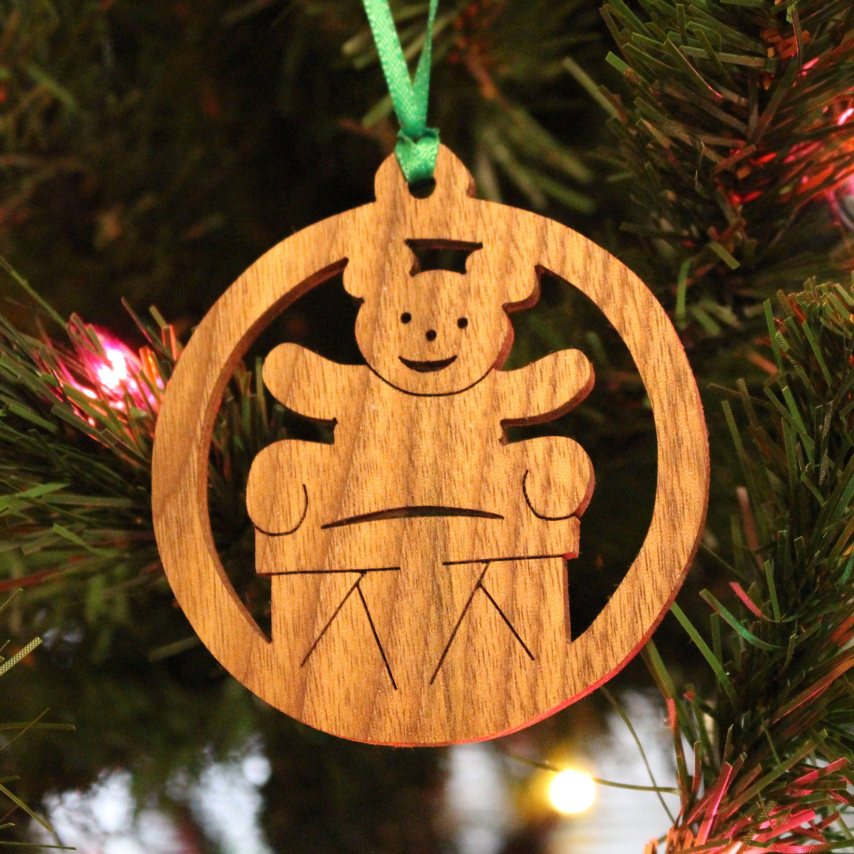 Ornament Teddy Bear Drum Walnut Etsy Wood Christmas Ornaments Ornaments Christmas Ornaments