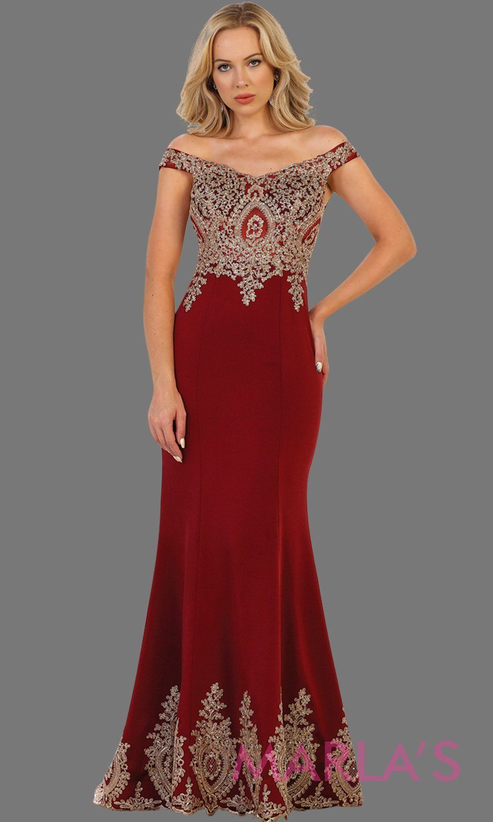 167238f9d0d Long off shoulder burgundy fitted dress with gold lace. It has a train with  gold lace trim. Perfect for prom