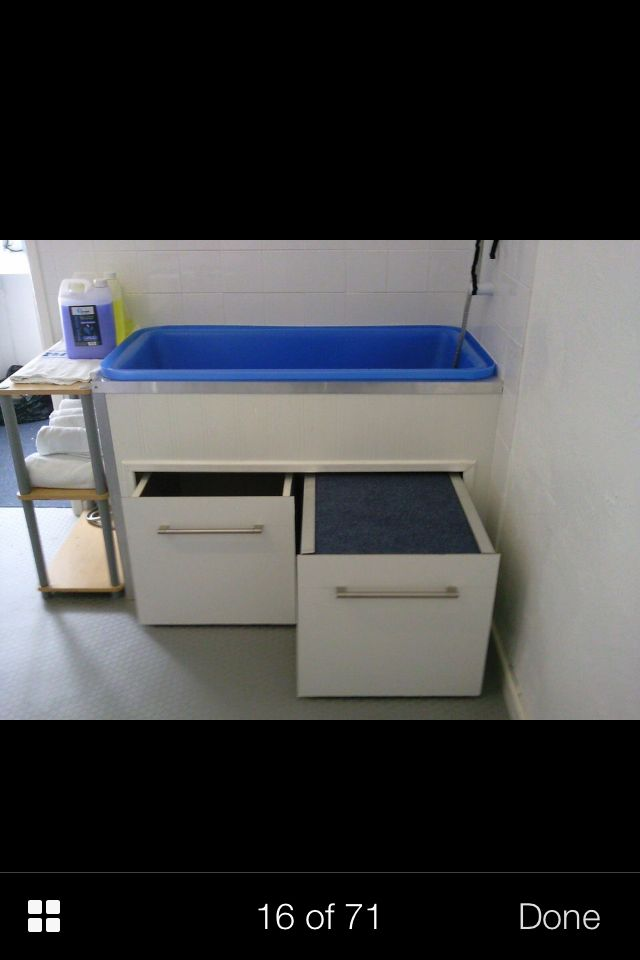 Storage under bath ideaRepinned  Grooming tub idea  Pull out step    Grooming Business  . Dog Bathing Table. Home Design Ideas