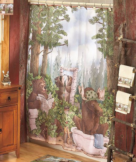Shower Curtain Bear Bathroom Cabin Lodge Moose Fabric New Bath Bears Woods Decor Cottage