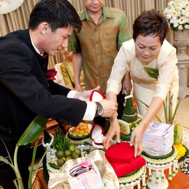 Thai Wedding Gifts: The Groom Presents Gifts To The Bride's Family
