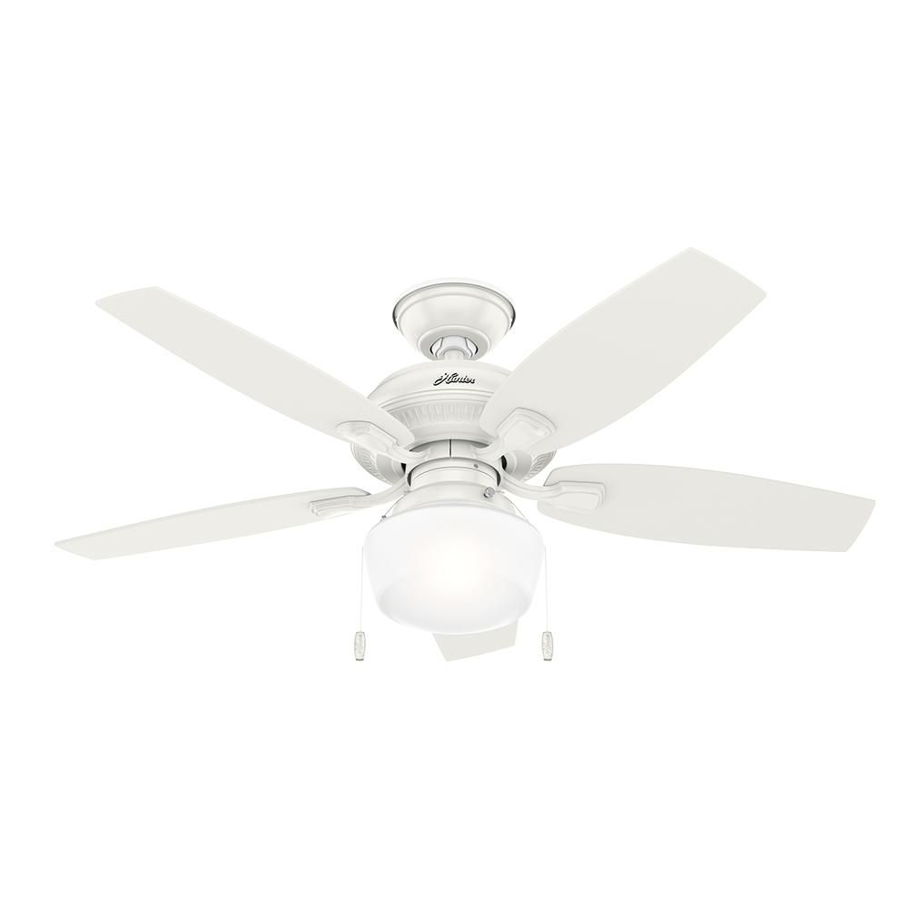 Hunter cote in led indooroutdoor fresh white ceiling fan with