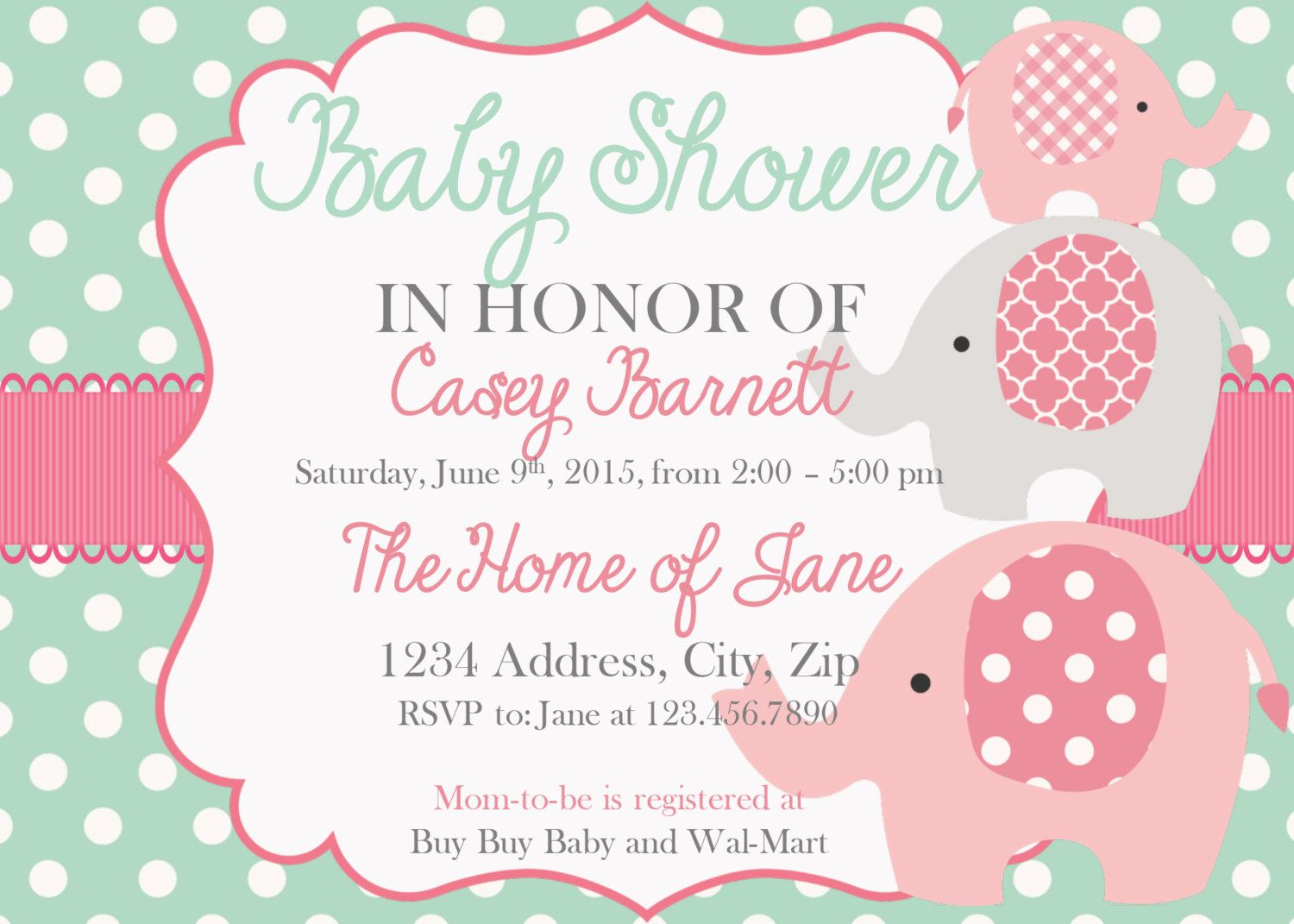 Baby Shower Invitation Elephant Girl Baby Shower Invites Mint and ...