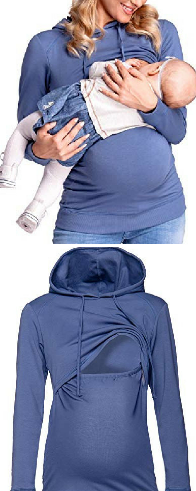 bf073d0a701 I'm in love with hoodies and I don't want to stop wearing them when I'm  pregnant and breastfeeding. Women's Nursing Hoodie Breastfeeding Sweatshirt  Top ...