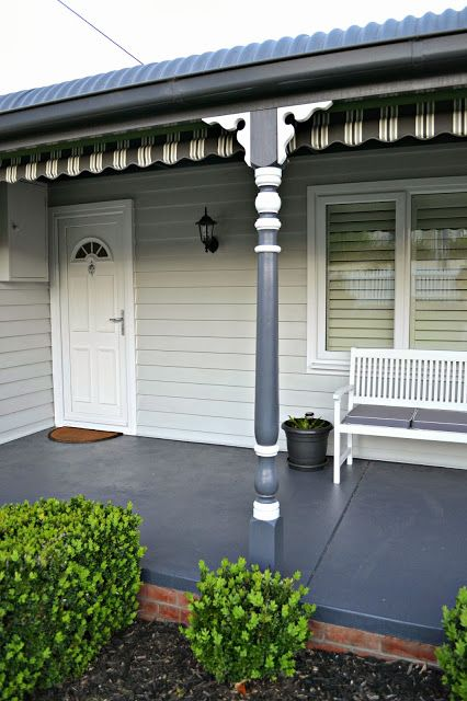 In The Night Sky The Front Verandah Finally A Painted Pathway Front Verandah Exterior House Colors Patio Flooring