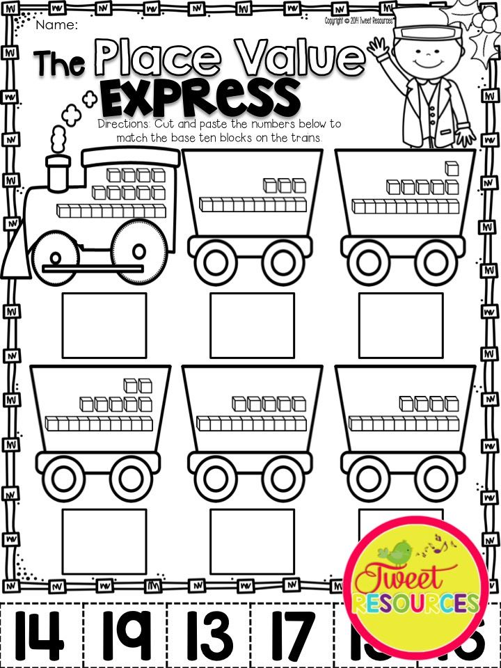 The Place Value Express Christmas Math And Literacy No Prep Printables Pack Kinder Math Activities Kindergarten Activities Kindergarten Math