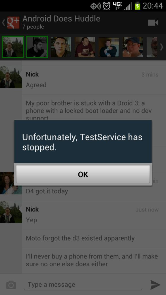 Unfortunately Testservice has stopped Android Forums at