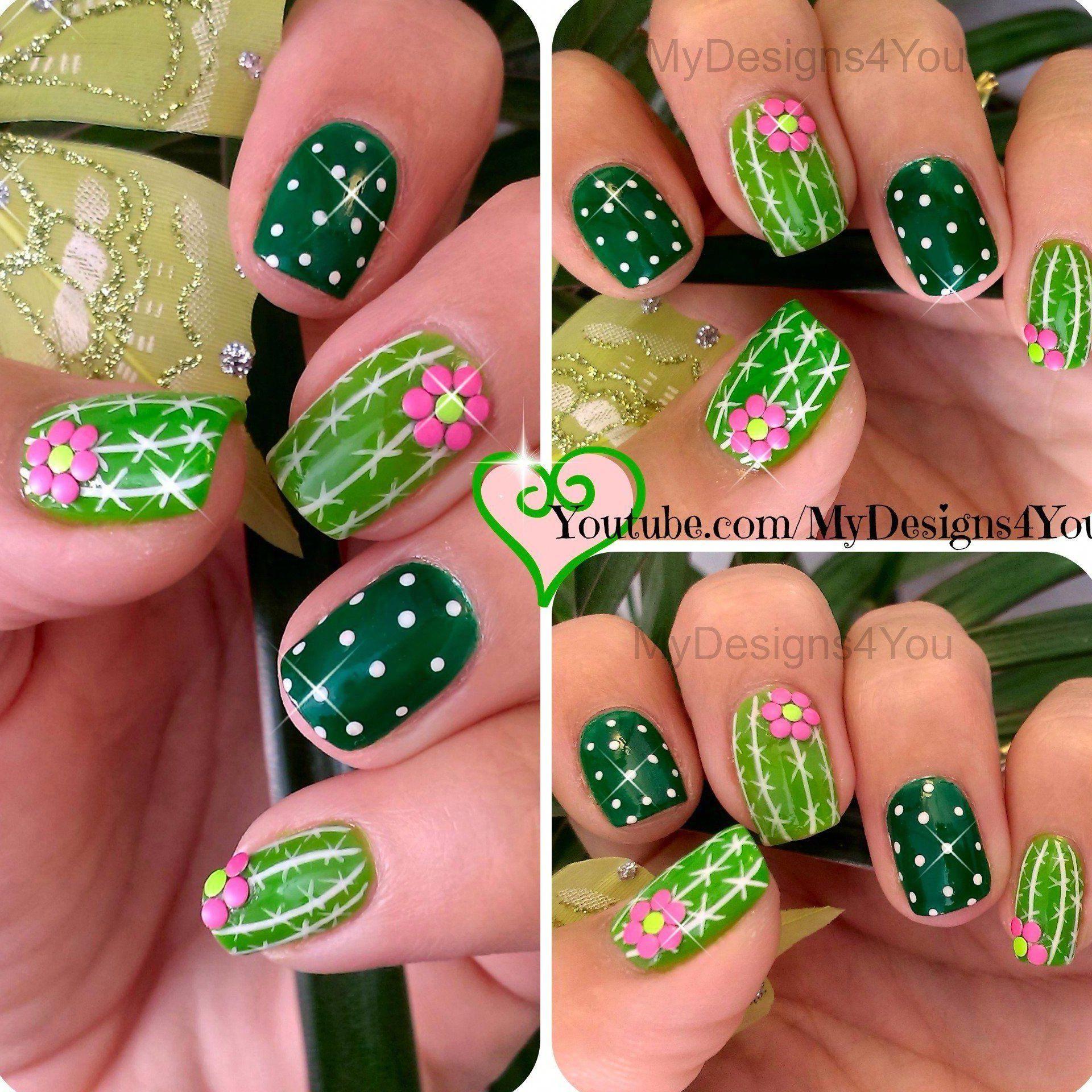 Fun Cactus Nail Art Easy Summer Nails Diseno De Unas Cactus Fun Cactus Nail Art Summer Nails Green N In 2020 Nail Art Summer Nail Art Designs Summer Green Nails