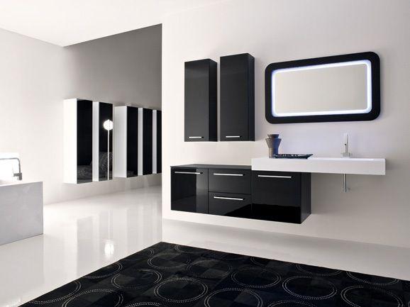 Bagno Nero ~ Bagno moderno laccato nero lucido con piano technokarm bianco