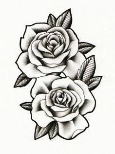 image result for three black and grey roses drawing tattoo flower