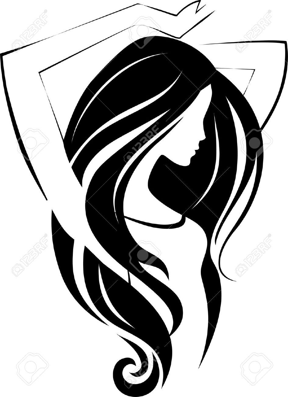 Illustration Vector Of Women Silhouette Golden Icon Women Face - Girl hairstyle vector free download