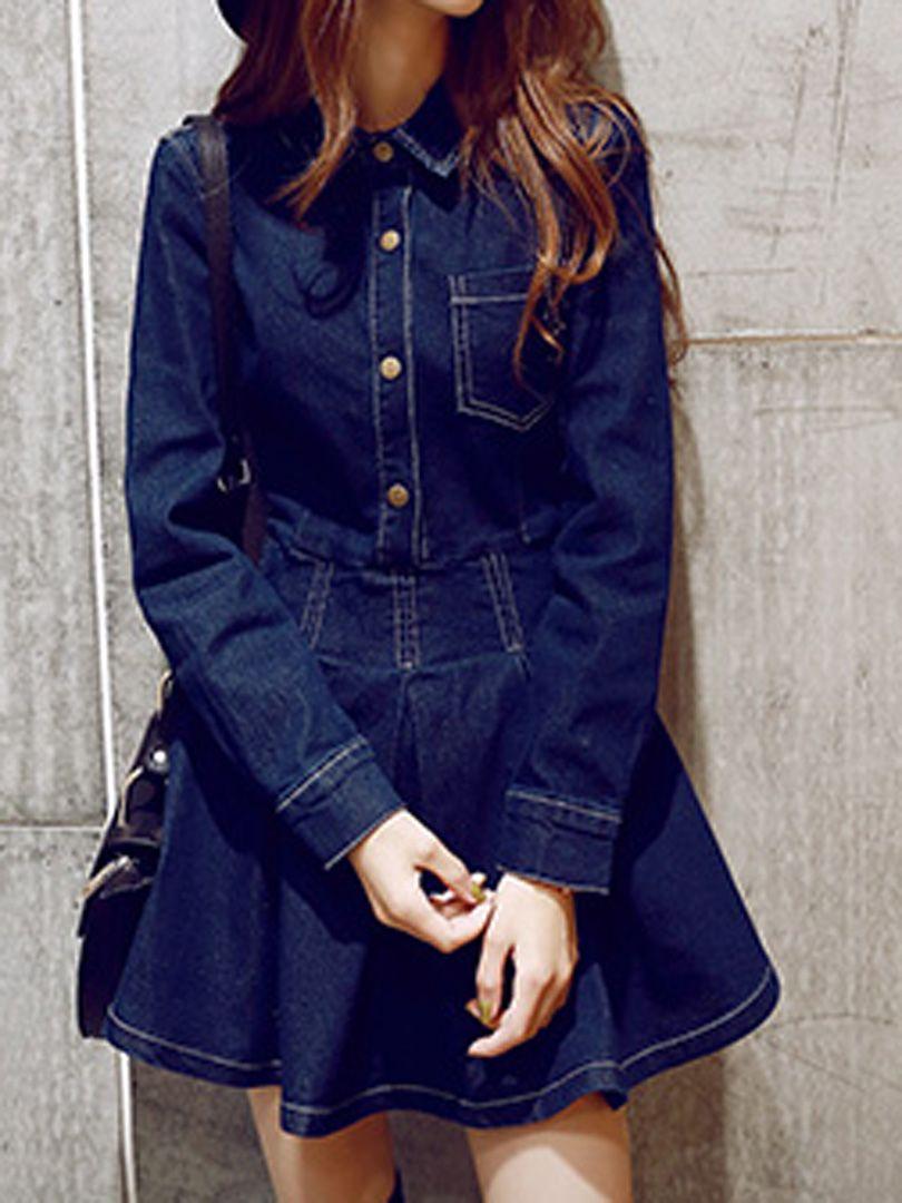 Blue Long Sleeve Denim Shirt Dress