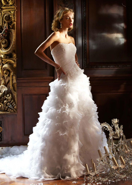 Organza ball gown with ruffled skirt and beading davidus bridal