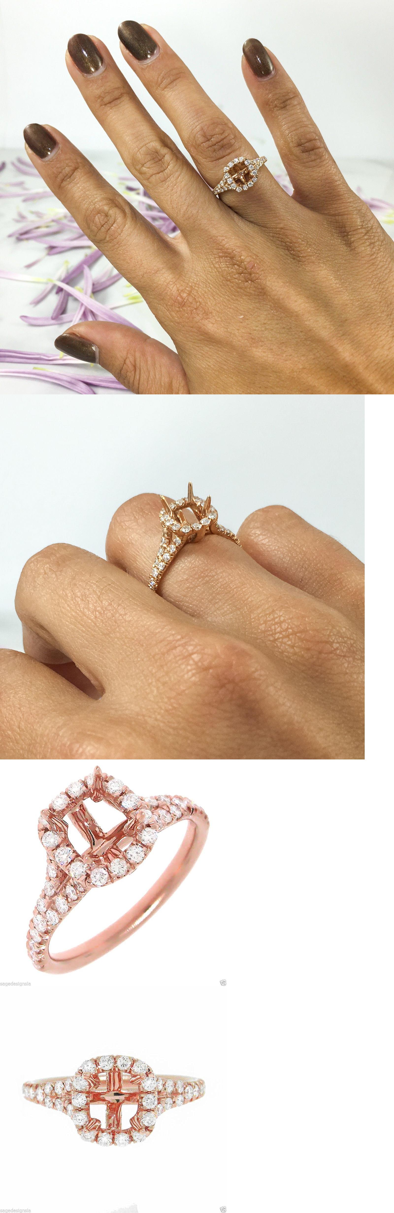 Settings Only 164309: 6x5mm Emerald Cushion Semi Mount 18k Rose Gold  Diamond Engagement Ring Setting