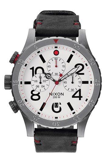 bd120ec5178 Men s Nixon  The 48-20  Chronograph Leather Strap Watch