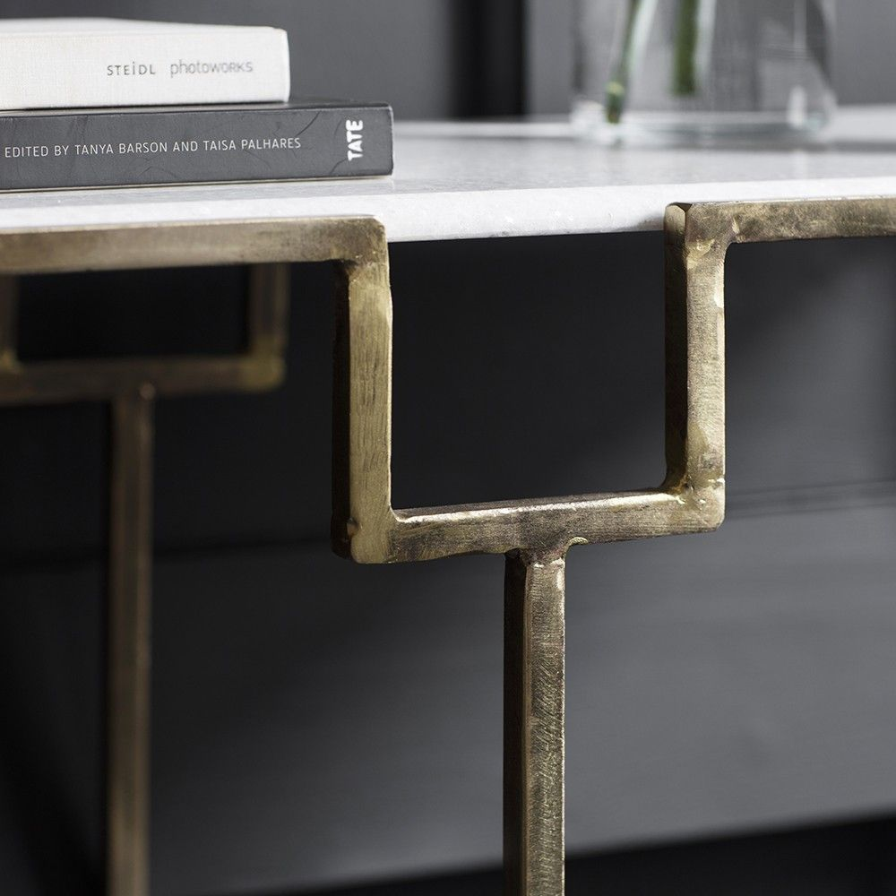 Gatsby marble top console table eta end july brassironsteel gatsby marble top console table eta end july geotapseo Images
