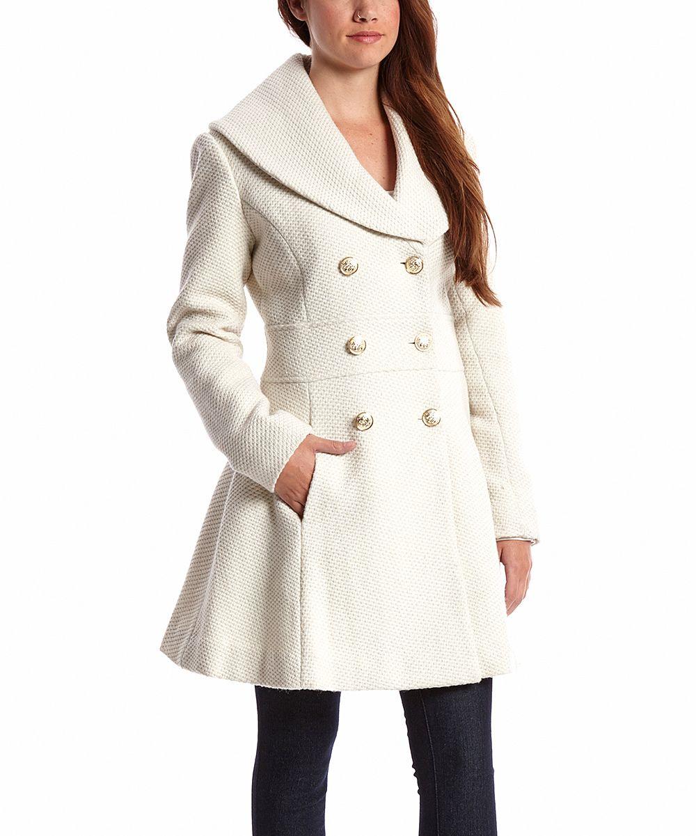 Off-White Shawl Collar Wool-Blend Peacoat - Women | zulily | Fall ...