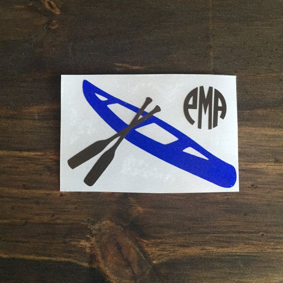 These are great for car decals binders computers cups and more this listing is for one monogrammed kayak decal
