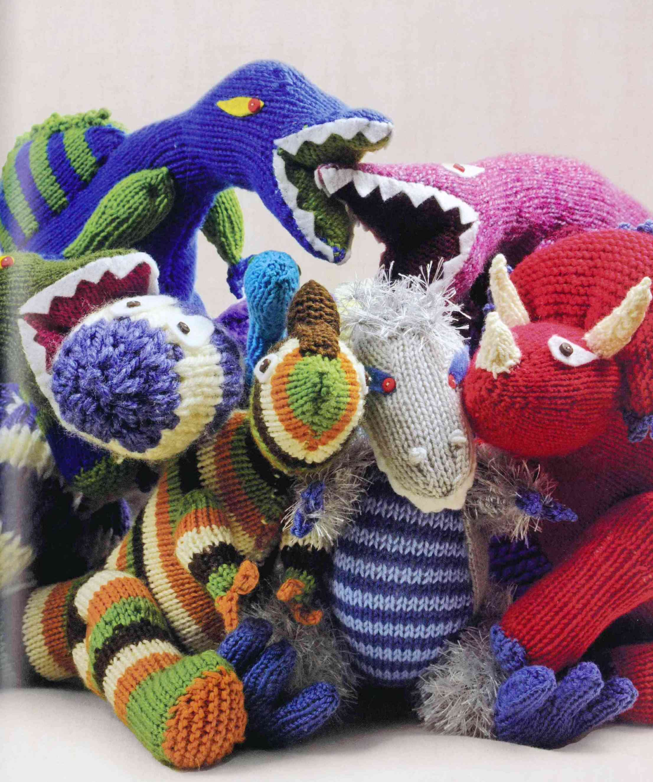 Designs taken from the book \'Knitted Dinosaurs\' | Dinosaur ...