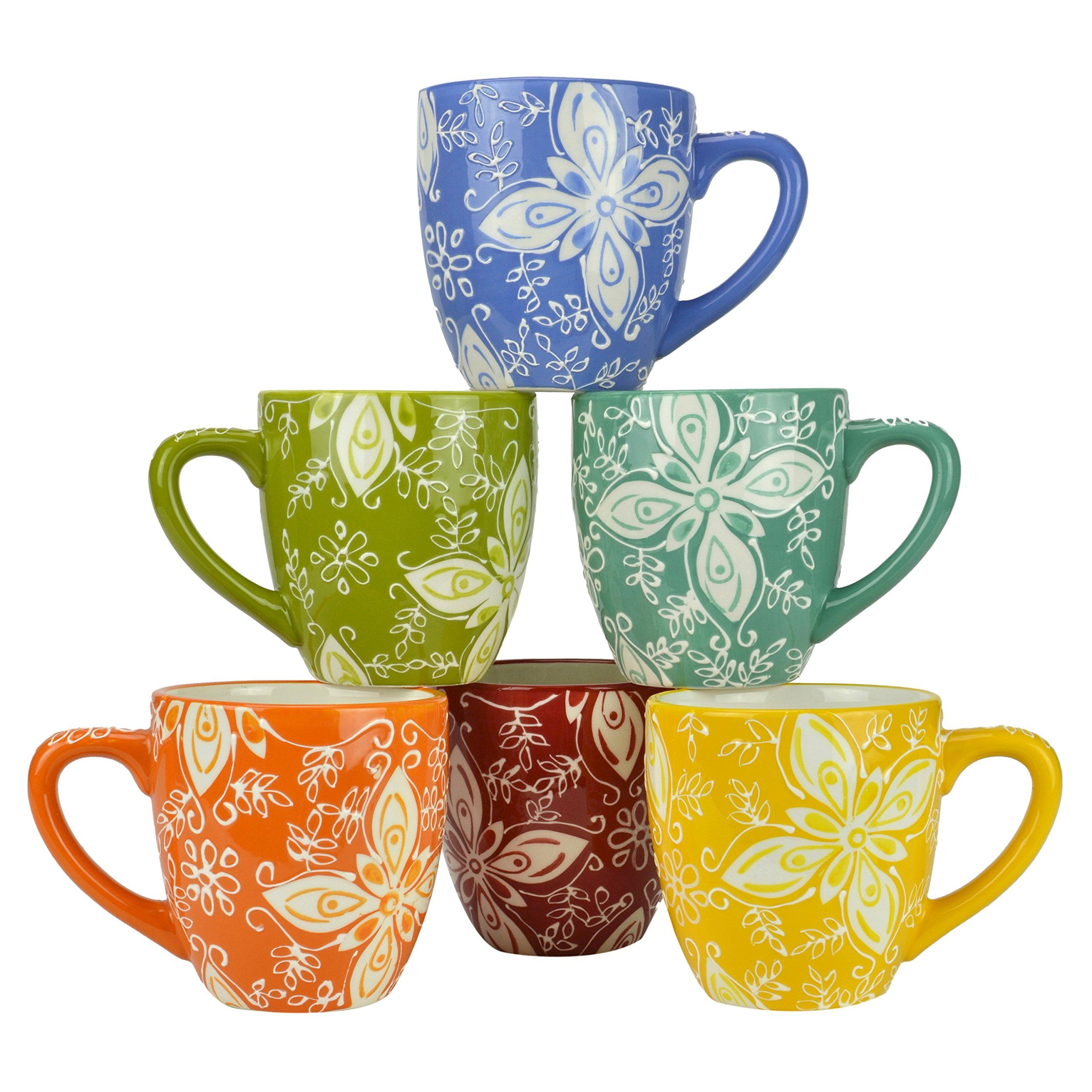 Set of 6 Multicolor Floral Design Earthenware