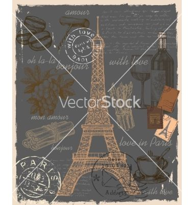 Set of Paris France vector by bioraven on VectorStock®