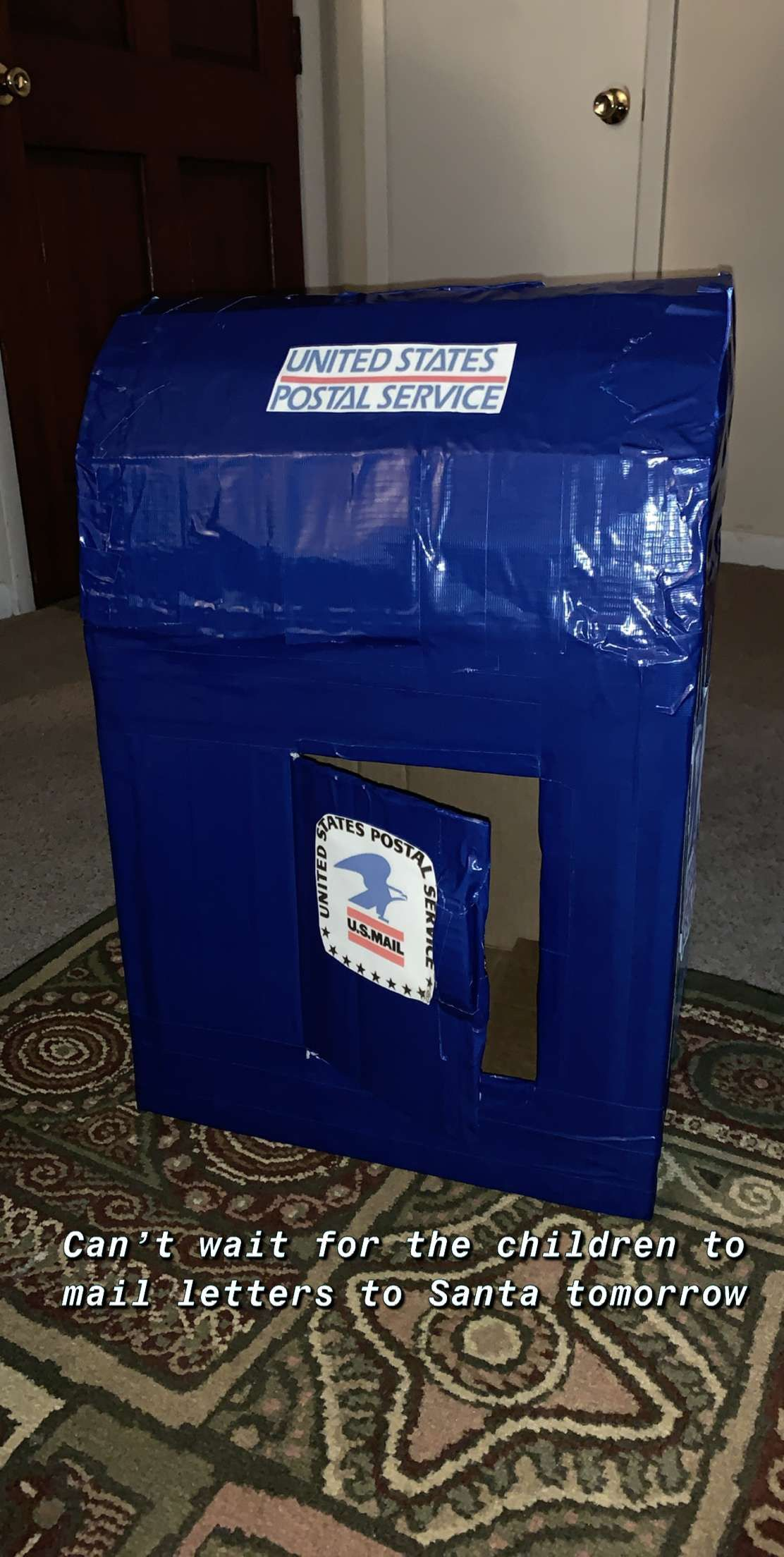 DIY Mailbox (made from a cardboard box and royal blue duct