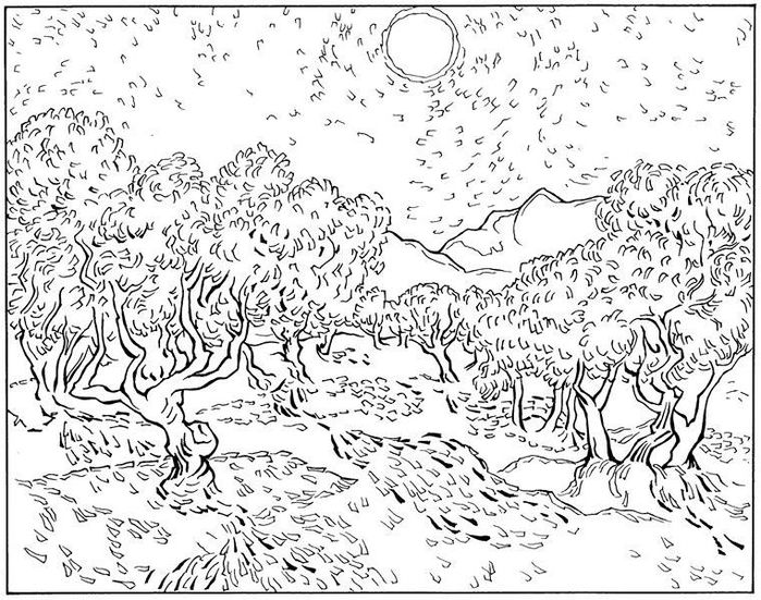 Olijf bomen 1889 (700x551, 297Kb) | Винсент ван гог ...