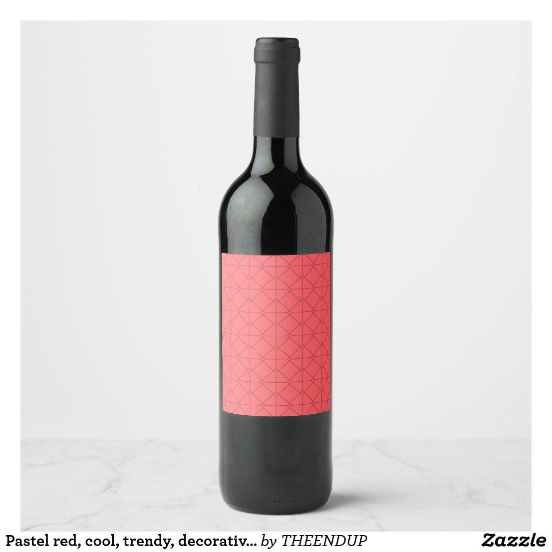 Pastel Red Cool Trendy Decorative Illustration Wine Label Zazzle Com In 2021 Wine Label Pastel Red Wine