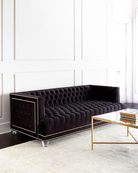 Perfect Black Tufted Gold Nailhead Trim Sofa