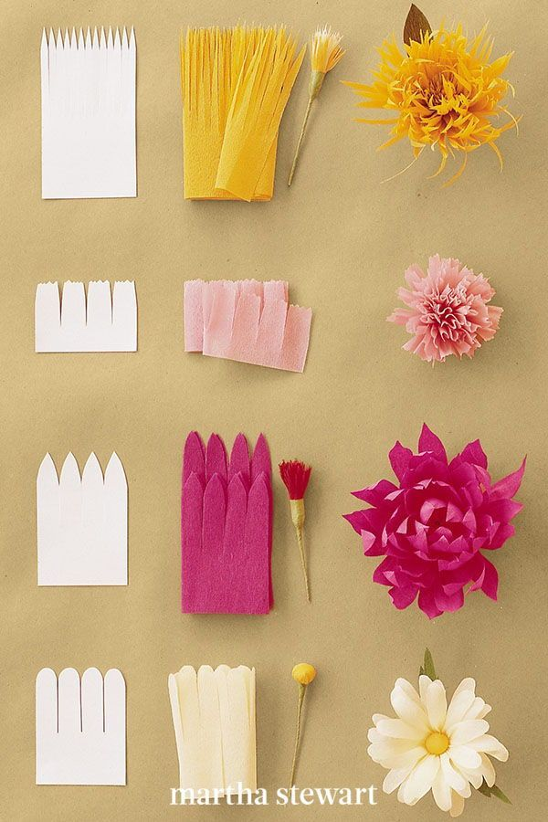 For this technique, a strip of paper cut with a fringe of petals is attached to a stamen, and petals are