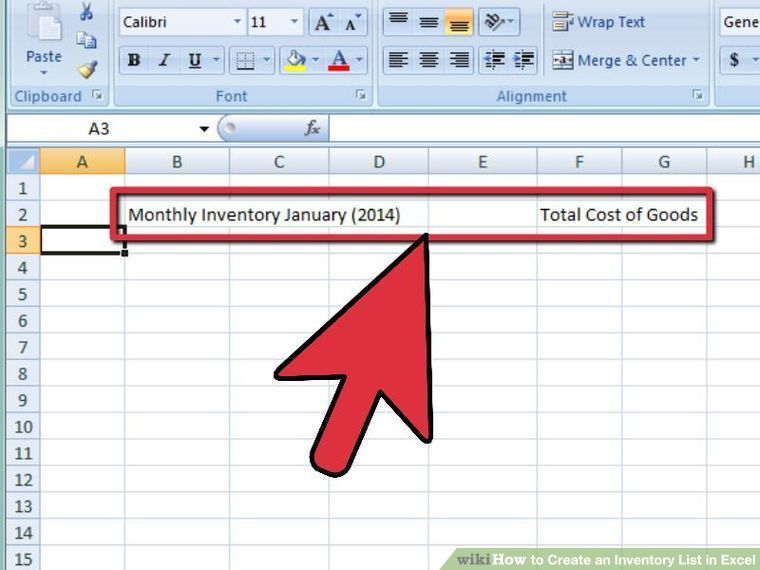 4 ways to create an inventory list in excel wikihow work