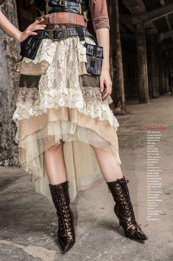 Jupe beige l gante en dentelle et volants steampunk rqbl shop nouveau style - Steampunk style vestimentaire ...