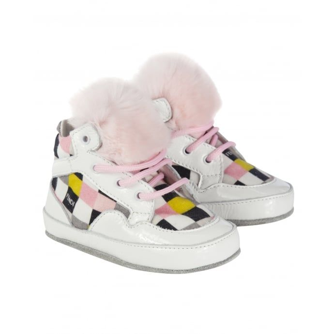 website for discount buy best sells Fendi Baby Girls White High-Top Trainers with Multicoloured ...