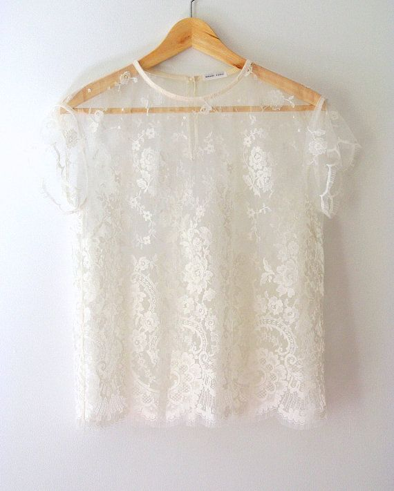 1b7d086507823 Beautiful Ivory Short Sleeve French Calais Lace Blouse