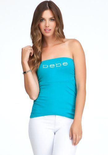 f395a907cf Bebe Logo Ruched Tube Top Logo Tile Blue-m