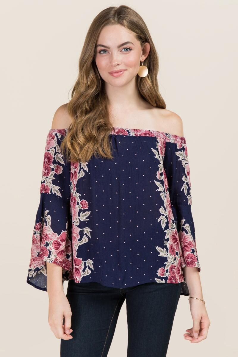 2ef7f6b69b0b53 Adelynn Salsa Sleeve Floral Off The Shoulder Top