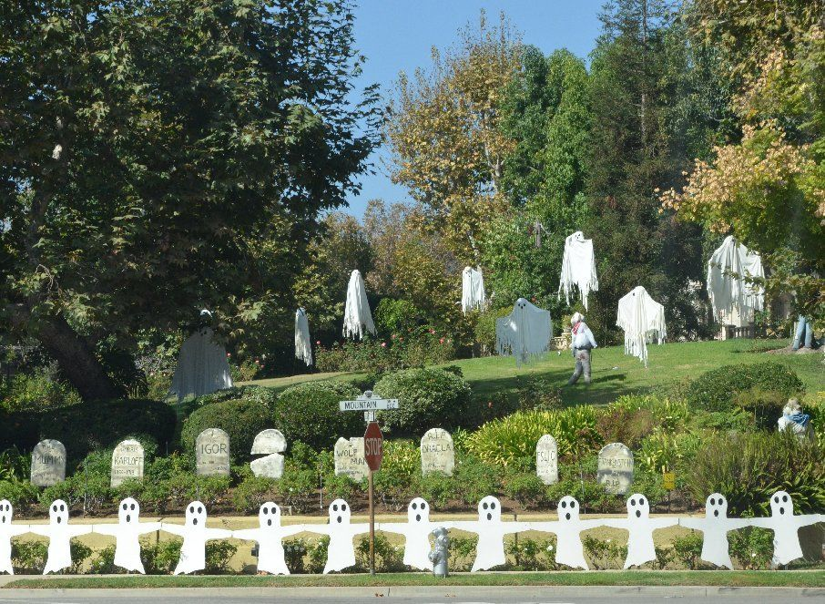 This Halloween decorated yard is seen throughout October on our - halloween decorations for the yard