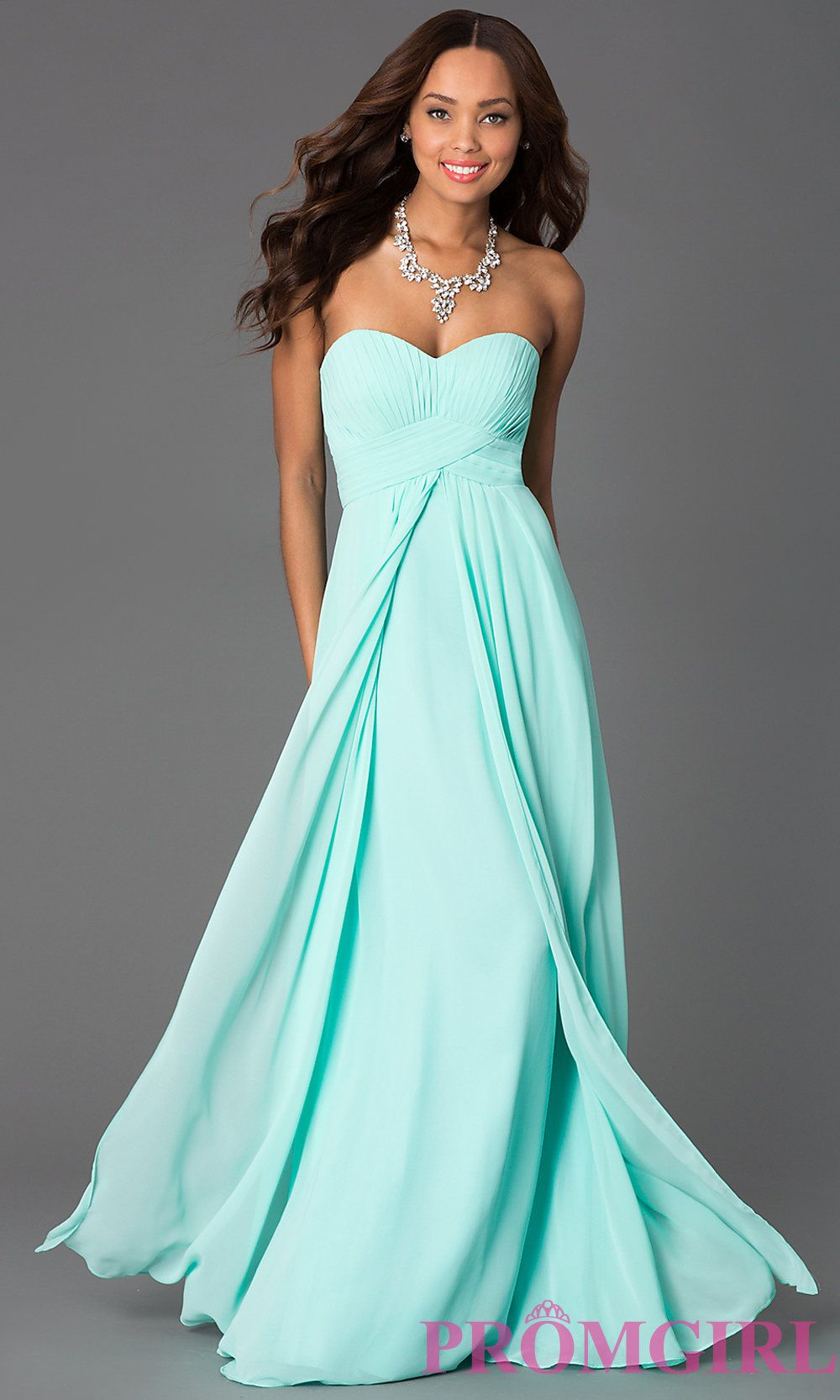 Image of Long Strapless Empire Waist Prom Dress Front Image | The ...